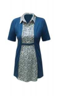 Вградена блуза за едри дами с къс ръкав - модел 08292