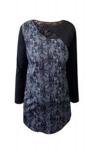 Блуза за макси дами в комбинация на черно с бяло - модел 0821