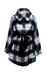 Пелерина за макси дами в черно-бяло - модел 092