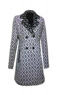Палто за макси дами 094 в черно и бяло