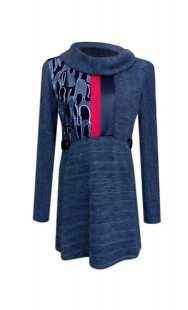 Туника за едри жени в сива комбинация - модел 08202