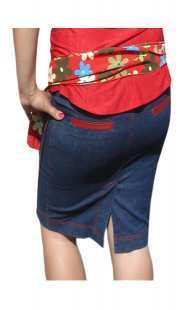 Дънкова пола за бременни 0671 с червено