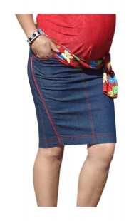 Дънкова пола за бременни с червено - модел 0671