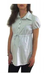 Риза за бременни с къс ръкав в ситно сиво райе - модел 08301