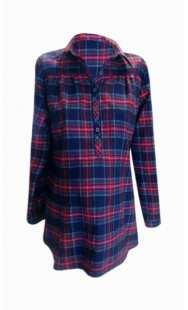 Риза за бременни синьо-червено каре 08307