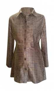 Риза за бременни фрак 08309 кафяво каре