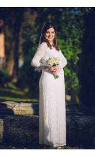 Дълга булчинска рокля за бременни 0551